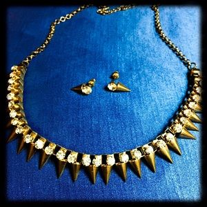 Gold and rhinestone spiked necklace or choker